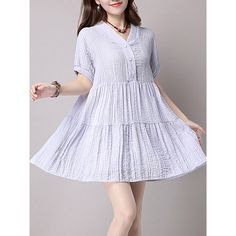 V-Neck Ruffled Hem Plain Shift Dress ($37) ❤ liked on Polyvore featuring dresses, v neck short dress, cotton dress, cotton summer dresses, v neck dress and ruffle hem dress