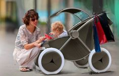 Baby Stroller with projectors and speakers is a high-tech sleeper for tots