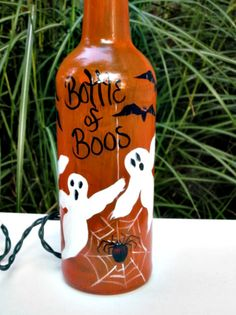 Halloween Wine Bottle of Boos  Recycled Wine by GlassGaloreGal