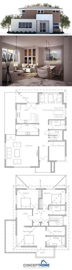 Casa de dos plantas, tres dormitorios en planta superior y despacho/cuarto de juegos en planta baja.
