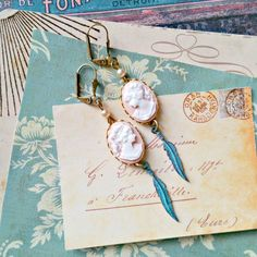 cameo feather earrings,  shabby chic, pale peach pink, mykonos feather charms, aqua patina, cottage chic, vintage pearls by FabFleaMarket on Etsy
