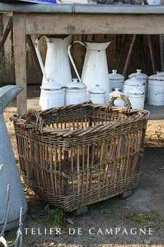 Atelier de campagne, brocante, panier ancien