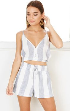 Talk Fast Top in Blue Stripe SHOWPO Fashion Online