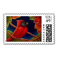 RED CARDINAL BIRD WITH AUTUMN LEAVES POSTAGE
