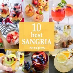 10 BEST SANGRIA RECIPES for every occasion. All flavors and colors of sangria; so beautiful and fun! Cheers!