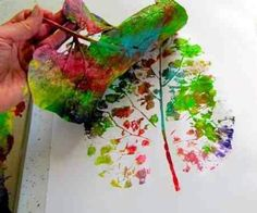 Creative Crafts For Kids Of All Ages Leaf Printing Just Paint On A Rainbow Design Tree And Use As Stamp