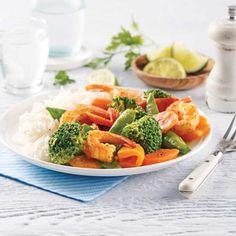 Salade de thon à la mangue - 5 ingredients 15 minutes Thai Red Curry, Cantaloupe, Easy Meals, Easy Recipes, Shrimp, Fish, Ethnic Recipes, Copyright, Sauce Alfredo