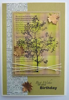 - Card Making Supplies, Rubber Stamping and Die Cutting - Frau Green Tree Poem, Tree Saw, Autumn Cards, Autumn Trees, Earth Day, Love Cards, Card Ideas, Birthday Cards, Poems