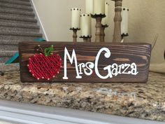 Apple string art with hand painted name Search @restored.to.adore on Instagram to order.