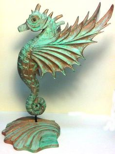 Original seahorse sculpt by Brandon Etto, finished with Modern Masters Metal Effects, the copper patina version. I've gotta try this paint! (Also, NEED THIS WINGED SEAHORSE. Seahorse Art, Sea Dragon, Mermaids And Mermen, Wow Art, Sea Creatures, Coastal Decor, Clay Art, Wood Carving, Art Forms