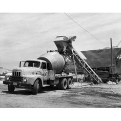 Gravel being poured in to a cement truck Canvas Art - x Cement Mixer Truck, Equipment Trailers, Concrete Mixers, Heavy Duty Trucks, Black N White, Old Trucks, Heavy Equipment, Canvas Art, Autos
