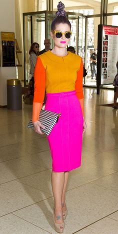 Colorful summer staples: Kelly Osbourne's colorblocked dress