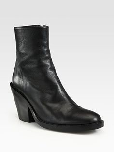 Ann Demeulemeester - Leather Mid-Heel Ankle Boots