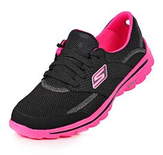 Bought these today for my work outs... Sketchers GOwalk 2 Stance Technical Lace-Up Walking Shoe - BLACK/HOT PINK