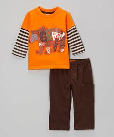 This Dark Orange 'Grr' Bear Layered Tee & Brown Pants - Infant by Watch Me Grow is perfect! #zulilyfinds