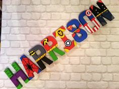 Superhero Letters. Personalised Hand Painted Papier Mache Letters. 8 Letter Name. MADE TO ORDER by MagnificentMakesUK on Etsy https://www.etsy.com/listing/228637637/superhero-letters-personalised-hand