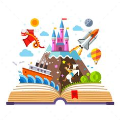 Find Imagination Concept Open Book Rocket Castle stock images in HD and millions of other royalty-free stock photos, illustrations and vectors in the Shutterstock collection. Thousands of new, high-quality pictures added every day. Book Clip Art, Book Art, Toddler Storytime, Children's Book Week, Library Displays, Lectures, Flat Illustration, Held, Art Plastique