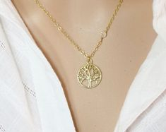 Tree of Life Necklace 14kt Gold Filled Necklace Small Gold