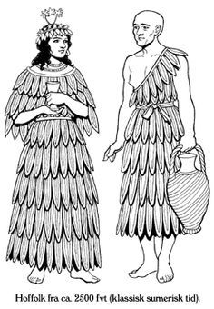 Sumerian Dress (3500-2500 BC) Men and female wore sheepskin skirts or dresses with the skin turned inside and the wool combed into decorative tufts. These warped around and were pinned in place. They extended from the waist to the knees or, for more important people, to the ankles. The upper part of the torso was at times bare, or clothed by another sheepskin cloaking the shoulders.