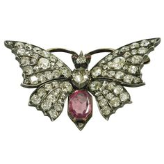 Antique Diamond and Pink Sapphire Butterfly Brooch/Pendant