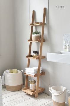 A narrow version of our best-selling Ladder Shelves made from solid oak, th. - A narrow version of our best-selling Ladder Shelves made from solid oak, these value-for-money - Bathroom Ladder Shelf, Bathroom Towel Storage, Toilet Storage, Ladder Bookcase, Small Ladder, Ladder Racks, Leaning Ladder Shelf, Ladder Shelf Diy, Bathroom Ideas