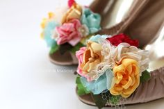 Fabric flowers floral bouquet shoe clips in aqua by ChloeANDMaddie, $48.95