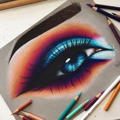 •Hello Everyone! • here's this colorful eye i drew! this drawing is actually bigger than most eye drawings i do so it was a lil challenging loll. hope you like this drawinggg!⚡️ • reference - @giuliannaa •