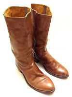 """TRUE VINTAGE 1970s MENS BROWN LEATHER SIZE 11D 15"""" FRYE BOOTS CAMPUS NYC FASHION"""