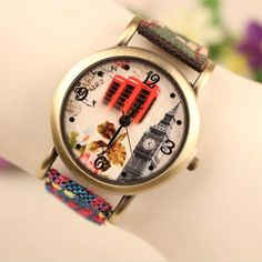 Perfect Gift 1PC Women Classic Ethnic bracelet watch Leather Analog Quartz Weave Wrist Watch June17