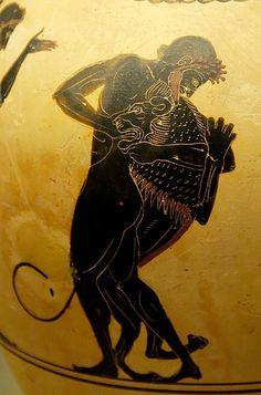 Herakles and the Nemean Lion. Attic white-ground black-figured oinochoe, ca. 520-500 BC. From Vulci.