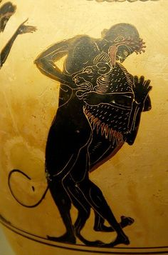 Herakles and the Nemean Lion. Attic white-ground black-figured oinochoe, ca. 520-500 BC. From Vulci.