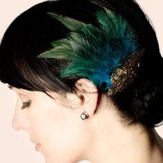 Feather Hair Clip Art Deco.