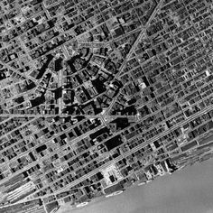 Aerial Detroit - Before the freeways (around 1950?), so much urban fabric lost go the automobile. But then again, Detroit wouldn't have been the same without it.