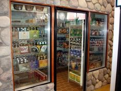 the ultimate beverage storage in a man cave, a cooler! even love for a restaurant. would be easier to keep things organized & do invintory