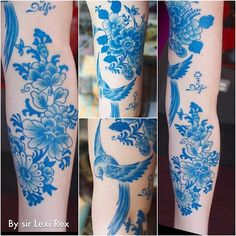 I can't remember who, but a friend of mine is into pinning tattoos and so I'm pinning this in hope they can see it. I think the blue looks like china plates. Pretty.