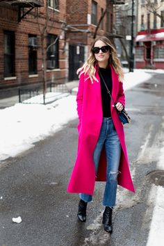 Littleblondbook in the Maje GEODE wool-blend coat, fushia, street style