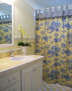 yellow and blue shower curtain. Bathroom Design Inspiration  Pictures Remodels and Decor country white with yellow blue shower curtain Villa Flora