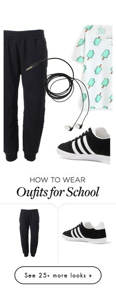School Routine by h3li on Polyvore featuring adidas Originals