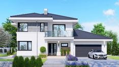 APS 274 + 2G - zdjęcie 3 Modern Bungalow House Design, Modern Exterior House Designs, Two Story House Design, 2 Storey House Design, Small Contemporary House Plans, Modern House Plans, House Outside Design, House Front Design, Large Homes Exterior