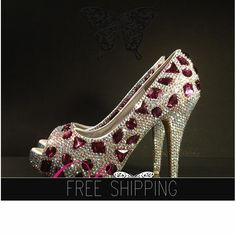 1. Top quality crystals  Snow Diamonds2. Featured, AB crystals, Amethyst diamonds3. 3,500 crystals, custom handmade shoes4. Featured heels: 5 Heels, 1 1/4 Platforms5. 15 DAYS PROCESSING TIME + Shipping
