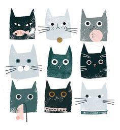 Cat Gang Screen Print by Clare Owen for U Studio Guache, Cat Drawing, Cute Illustration, Cat Love, Cat Art, Art Inspo, Watercolor Art, Dog Cat, Character Design