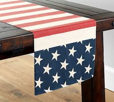 Japanese Embroidery Flowers Pottery Barn American Flag Table Runner - A bright backdrop to lively summer gatherings, this all-American runner is proudly printed with crisp stars and rich red stripes. DETAILS YOU'LL APPRECIATE Table Throw, A Table, Free Interior Design, Interior Design Services, 4th Of July Party, Fourth Of July, Burlap Party, Table Flag, American Flag Stars