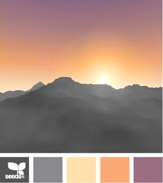 This palette mimics the gorgeous hues of a harvest sunset! The warmth of the orange and yellow is balanced with cool grey and purple