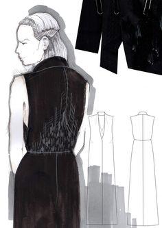 Fashion Sketchbook - fashion illustrations & fabrics; final major project; fashion design portfolio // Mirjam Maeots