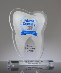 Recognize your top performers with our custom Acrylic Tooth Trophy! Ideal for recognizing Top Dentists, Dental Students as well as your Best Performing Dental Office Crystal Awards, Custom Awards, Dentists, 50 Years Old, Orthodontics, Dental, Tooth, Students, Usa