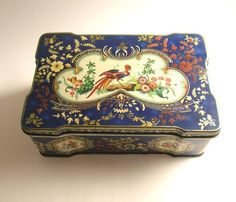 VINTAGE THORNES TOFFEE TIN PHOENIX BLUE GOLD DECORATIVE COLLECTABLE