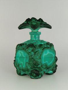Vintage 1930s Art Deco Curt Schlevogt Malachite Perfume Bottle Atomizer Reputation First Perfume Bottles Antiques