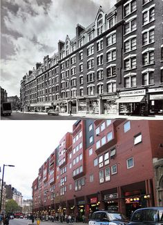 275-Charing Cross Road, Sandringham Buildings 1960's and 2012 by Warsaw1948, via Flickr