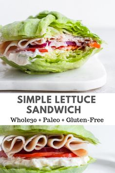 Lettuce Sandwich - it doesn't get any easier than this! A throw-together meal for on-the-go! Lettuce Sandwich - it doesn't get any easier than this! A throw-together meal for on-the-go! Whole 30 Diet, Paleo Whole 30, Whole 30 Recipes, Whole 30 Lunch, Lettuce Sandwich, Salat Sandwich, Lettuce Wraps, Cheap Clean Eating, Clean Eating Snacks
