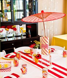 cute centerpiece idea for showers- This would be good with pink instead of red